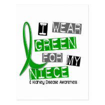Kidney Disease I Wear Green For My Niece 37 Postcard