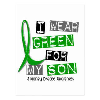 Kidney Disease I Wear Green For My Son 37 Postcard