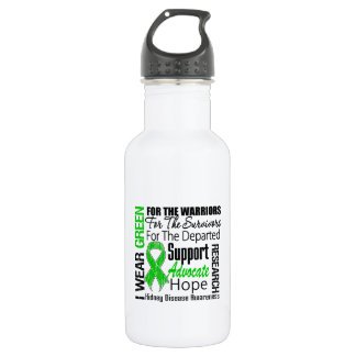 Kidney Disease I Wear Green Tribute 18oz Water Bottle