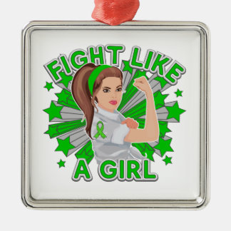 Kidney Disease Modern Rosie Fight Like a Girl Square Metal Christmas Ornament