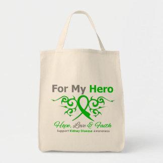 Kidney Disease Tribal Ribbon Hero Tote Bags