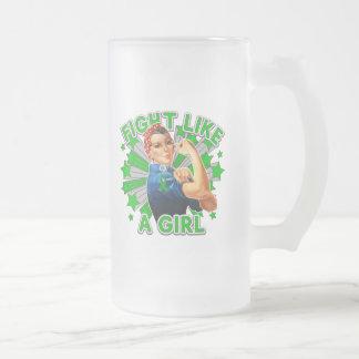 Kidney Disease Vintage Rosie Fight Like A Girl 16 Oz Frosted Glass Beer Mug