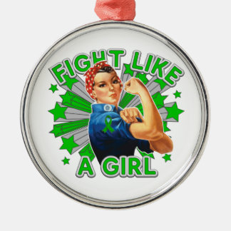 Kidney Disease Vintage Rosie Fight Like A Girl Round Metal Christmas Ornament