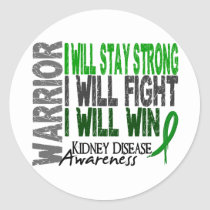 Kidney Disease Warrior Classic Round Sticker