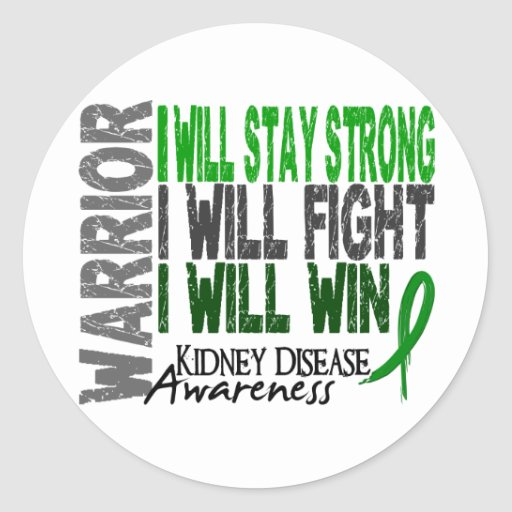Kidney Disease Warrior Round Stickers