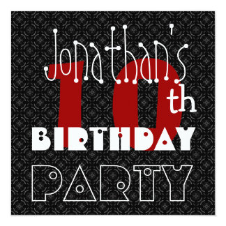 "Kid's 10th Birthday Custom Name Black White Red 5.25"" Square Invitation Card"