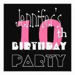 Kid's 10th Birthday Custom Name Modern Pink Personalized Invite