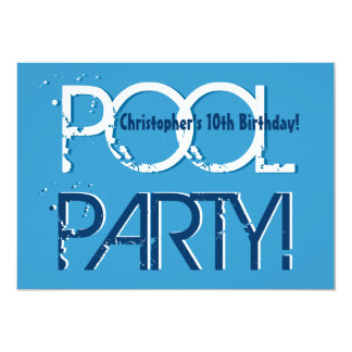 Kid's 10th Birthday Pool Party Blue White Template Personalized Announcements