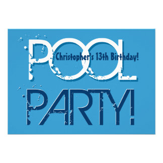 Kid's 13th Birthday Pool Party Blue White W01 Personalized Announcement