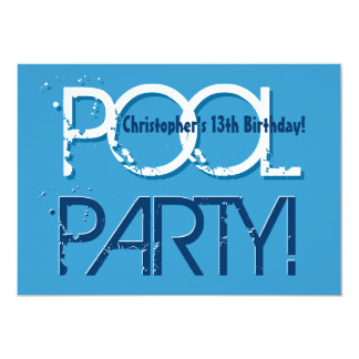Kid's 13th Birthday Pool Party Blue White W01 5x7 Paper Invitation Card