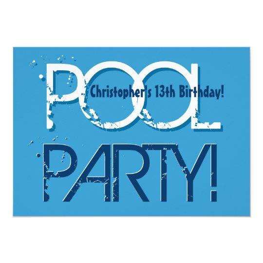 Kids 13th Birthday Pool Party Blue White W01 Invitation