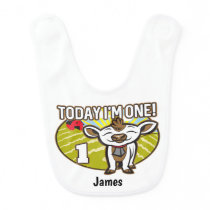 Kid's 1st Birthday Today I'm One! Cute Cow Baby Bib