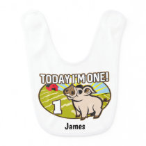 Kid's 1st Birthday Today I'm One! Cute Pig Baby Bib
