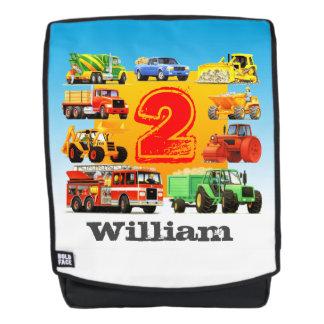 Kids 2nd Birthday Construction Trucks Custom Name Backpack