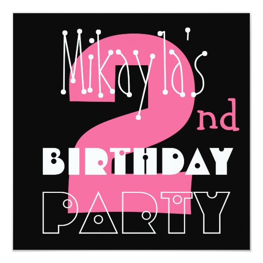 Kid's 2nd Birthday Custom Name Modern Pink Card