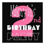 Kid's 2nd Birthday Custom Name Modern Pink Invite