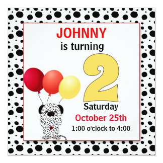 Kid's 2nd Birthday | Red and Yellow Dalmatian Card