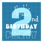 Kid's 2nd Birthday Two Year Old Blue White 002 Invitations