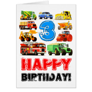 Kids 3rd Birthday Construction Truck Greeting Card