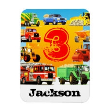 Kid's 3rd Birthday Construction Truck Rectangular Photo Magnet