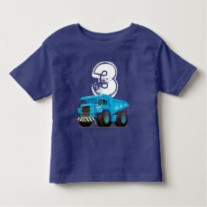 Kid's 3rd Birthday Custom Age Dumper Truck T-shirt