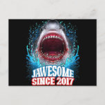 Kids 3rd Birthday Gift Jawesome Since 2017 Shark Holiday Postcard