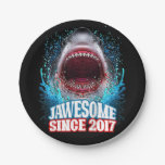 Kids 3rd Birthday Gift Jawesome Since 2017 Shark Paper Plate