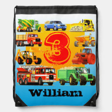 Kid's 3rd Birthday Party Custom Construction Truck Drawstring Bag