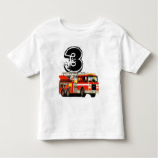 Kid's 3rd Birthday Red Fire Truck Toddler T-shirt