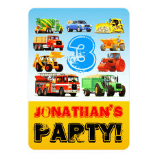 Kid's 3rd Birthday Truck Party Card