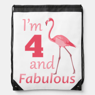 Kids 4th Birthday Cute Pink Flamingo Drawstring Backpack
