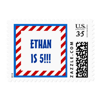 Kids 5th Birthday Custom Name RED STRIPES 5 Postage