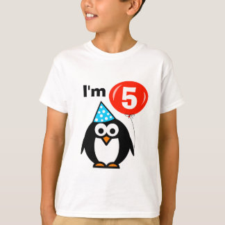 Kids 5th Birthday shirt with penguin cartoon
