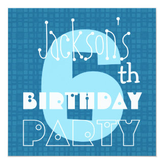 Kid's 6th Birthday Six Year Old Blue White 006 Card