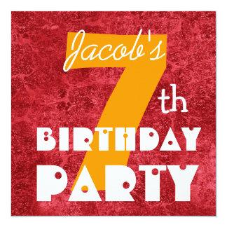 Kid's 7th Birthday Custom Name Red Gold 05 5.25x5.25 Square Paper Invitation Card