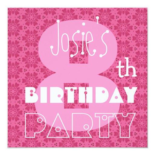 Kid's 8th Birthday Custom Name Modern Pink Card