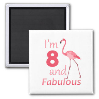 Kids 8th Birthday Cute Pink Flamingo Magnet