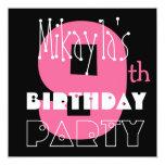 Kid's 9th Birthday Custom Name Modern Pink Custom Invite