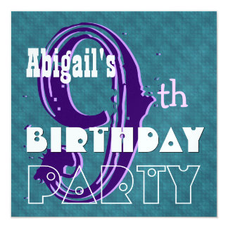 Kid's 9th Birthday Custom Name Purple Teal V002 Card