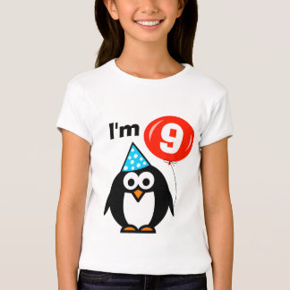Kids 9th Birthday shirt   penguin with red balloon