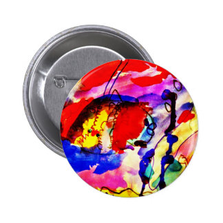 Kids Abstract Art Rainbow Fish in Colorful Sea Pinback Buttons