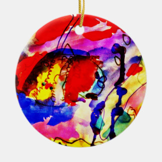 Kids Abstract Art Rainbow Fish in Colorful Sea Ceramic Ornament