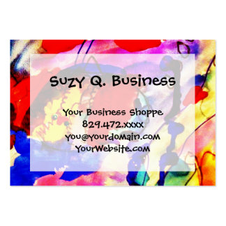 Kids Abstract Art Rainbow Fish in Colorful Sea Large Business Card