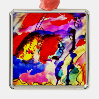 Kids Abstract Art Rainbow Fish in Colorful Sea Metal Ornament
