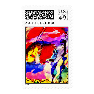 Kids Abstract Art Rainbow Fish in Colorful Sea Postage Stamp