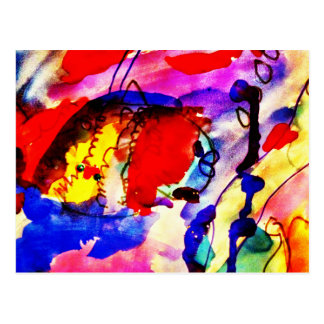 Kids Abstract Art Rainbow Fish in Colorful Sea Postcard