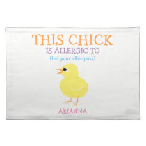 Kids Adorable Custom Food Allergy Chick Cloth Placemat
