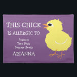 """Kids Adorable Personalized Chick Food Allergy Placemat<br><div class=""""desc"""">Adorable Kids Allergy Alert Easter Chick Personalized Cloth Placemat. The bright white font on a purple background states &quot;THIS CHICK IS ALLERGIC TO:&quot; Edit to add your allergens and child&#39;s name. Cute fluffy yellow check design for Easter time or Spring. Designs by Lil Allergy Advocates www.lilallergyadvocates.com</div>"""