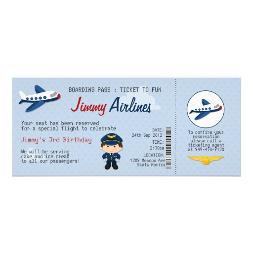 Personalized Airplane birthday Invitations – Ticket Party Invitation Template