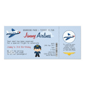 Kids Airline Ticket Birthday Party Invitation 4